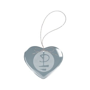 Glyph Logo Heart Laser-Etched Glass Ornament