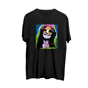 Janis Joplin Multicolor Black Photo T-shirt