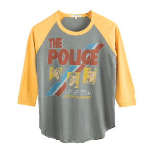The Police 1982 Ghost In The Machine Three Faces Blue/Red Stripe Yellow Tour Raglan