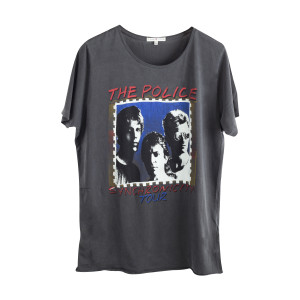 The Police Synchonicity Tour Dark Blue Stamp Faces T-Shirt