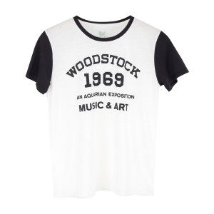 Woodstock An Aquarian Exposition 1969 Blue Sleeves White T-Shirt