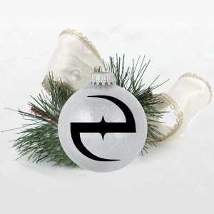 e Logo Silver Sparkle Ornament
