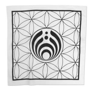 White and Black Geometric Logo Bandana