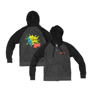 Double Dare Live Zip Hoodie - Charcoal & Black