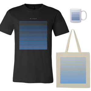 River T-Shirt - Black, Tote, Mug Bundle