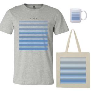 River T-Shirt - Grey, Tote, Mug Bundle