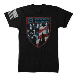 3 Doors Down Flag Crest T-Shirt