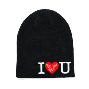 Wings Heart Black Beanie