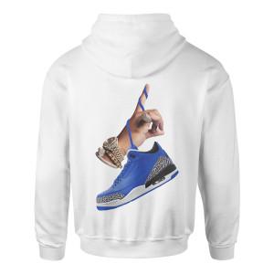 DJ Khaled x Jordan Leather Sneakers Hoodie - White
