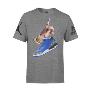 DJ Khaled x Jordan with Leather Sneakers T-shirt - Grey