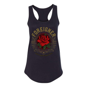 Foreigner - Ladies Gold Foil Rose Tank Top