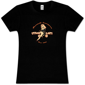 Stray Cats - Girls Black T