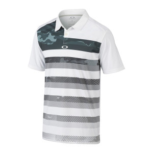 White and Grey Gradient Camo Striped Oakley Polo