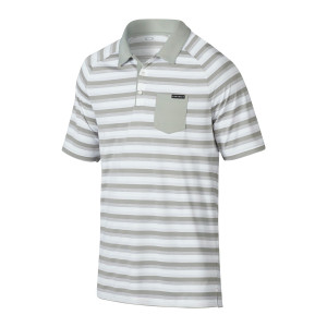 White and Grey Striped Oakley Polo