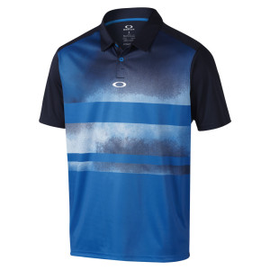 Blue and Black Gradient Striped Oakley Polo