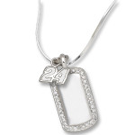 Jeff Gordon Sterling Silver Mini Dog Tag Necklace