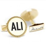 ALI Round Cufflinks with Rope Border - Gold Plated