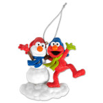 Elmo with Snowman Ornament