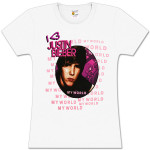 Justin Bieber My World Circle Girls Fitted White T-Shirt