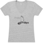 Phillip Phillips Musical Note V-Neck Junior T Shirt