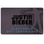 Justin Bieber Electronic Gift Certificate