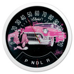 Elvis Pink Cadillac Speedometer Thermometer