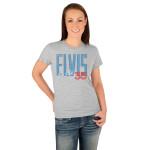 Elvis 35th Anniversary Blue Block Ladies T-Shirt