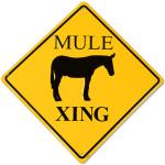 Mule Crossing Road Sign