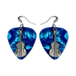 Blue Guitar Charm Pick Earrings