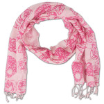 House of Blues Pink Skull and Roses Scarf