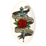 Cuttin Heads Rose Tattoo Logo Sticker