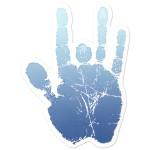 Jerry Garcia Blue Handprint Sticker