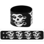 Misfits Barbed Wire 2 Skull Leather Wrist Cuffs