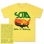 SOJA - Born In Babylon Yellow T-Shirt with Block Lettering