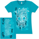 Seether Women's Aqua Pattern Skull Shirt
