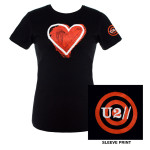 U2 Ladies Black Heart Logo Babydoll Shirt