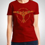 Tiesto - Dark Red Flower Ladies Maroon T-Shirt