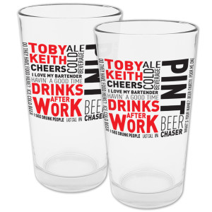 """""""Drinks After Work"""" Pint Glasses - Set of 2"""